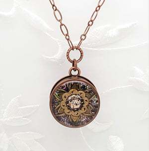 Antique Copper Rose Gold Kaleidoscope Pendant Necklace