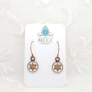 Antique Copper Round Earrings with Clear Resin and Peach Flower