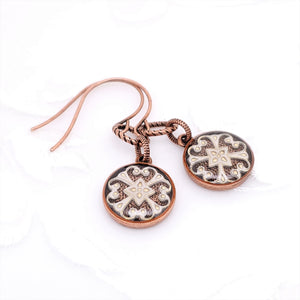 Antique Copper Round Earrings with Peach Filigree