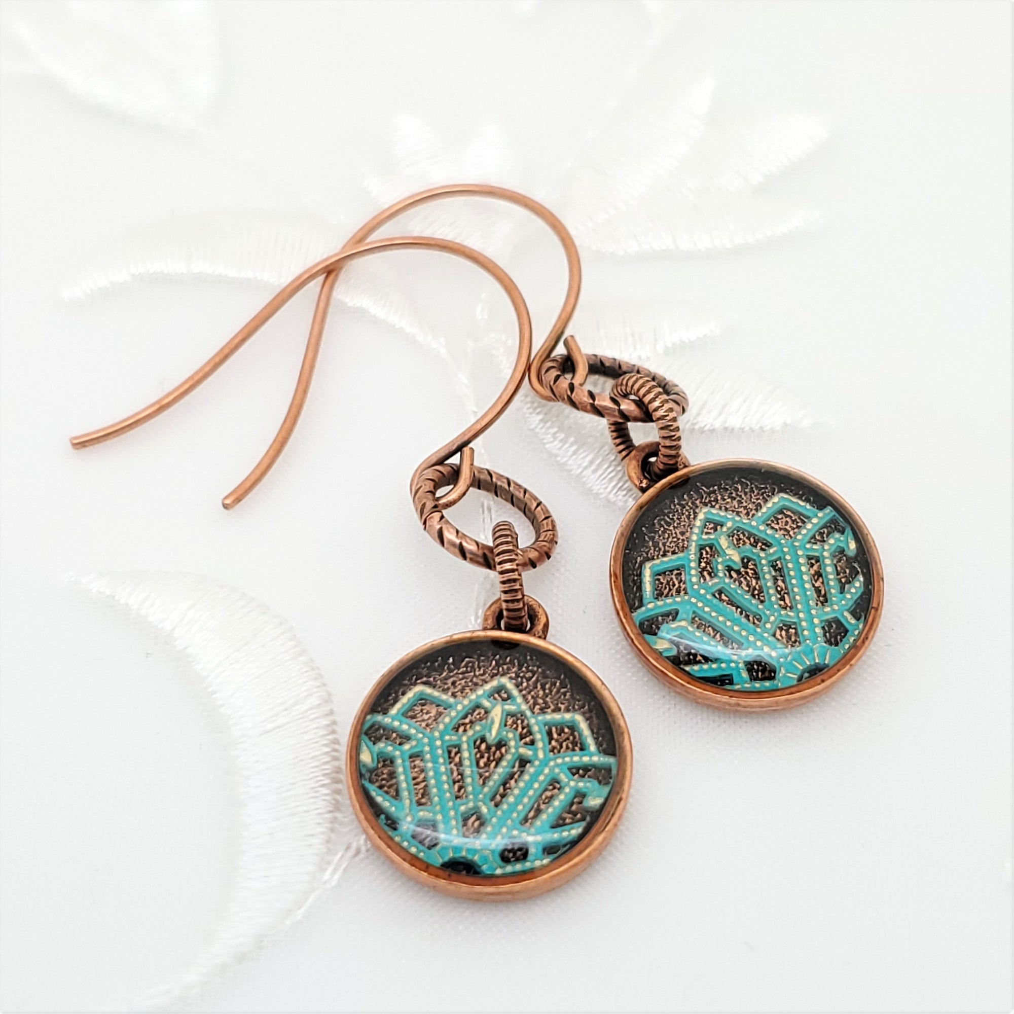 Antique Copper Round Earrings with Turquoise Filigree
