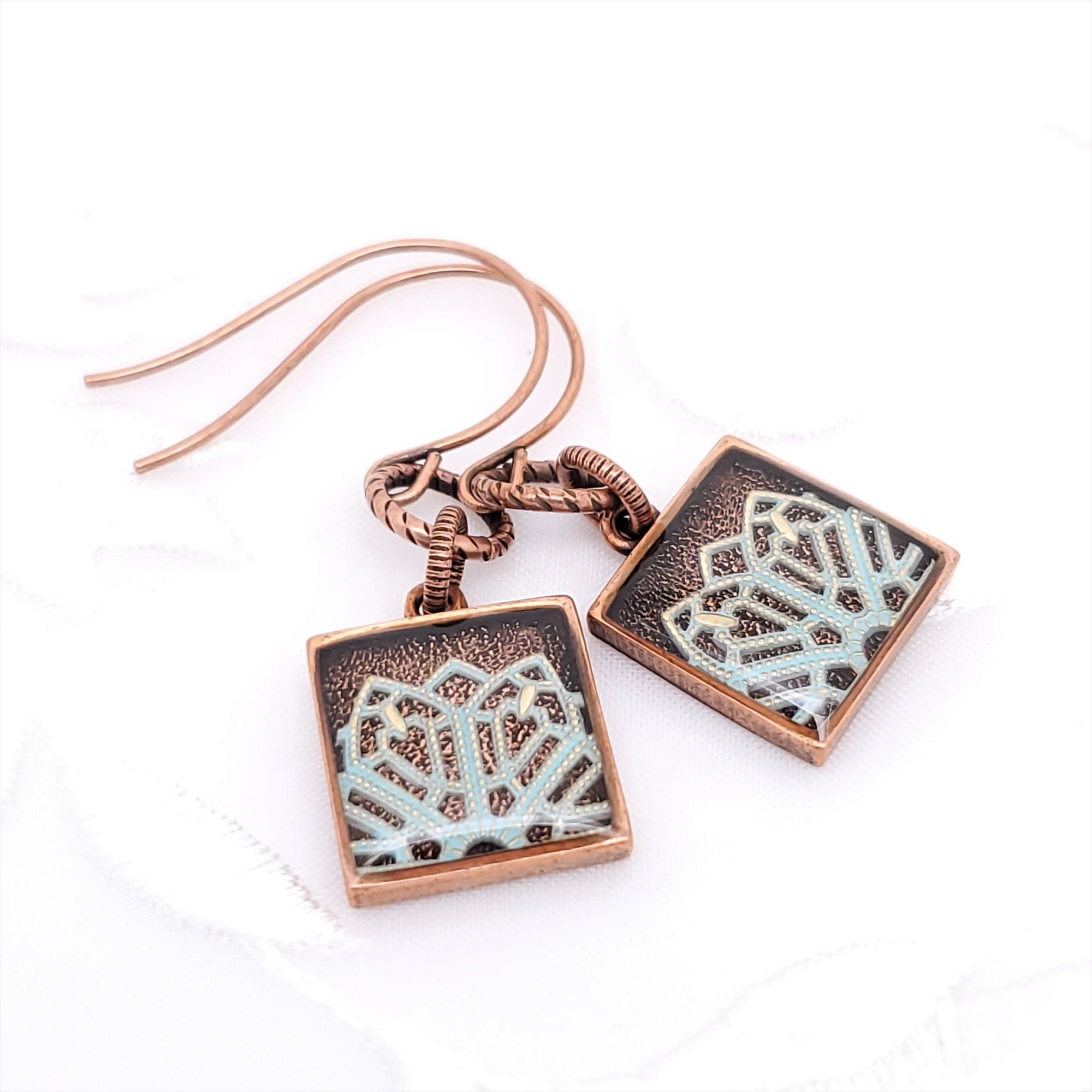 Antique Copper Square Earrings with Light Blue Filigree