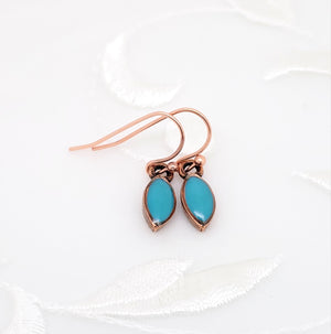 Antique Copper Tiny Drop Earrings with Turquoise Blue Resin