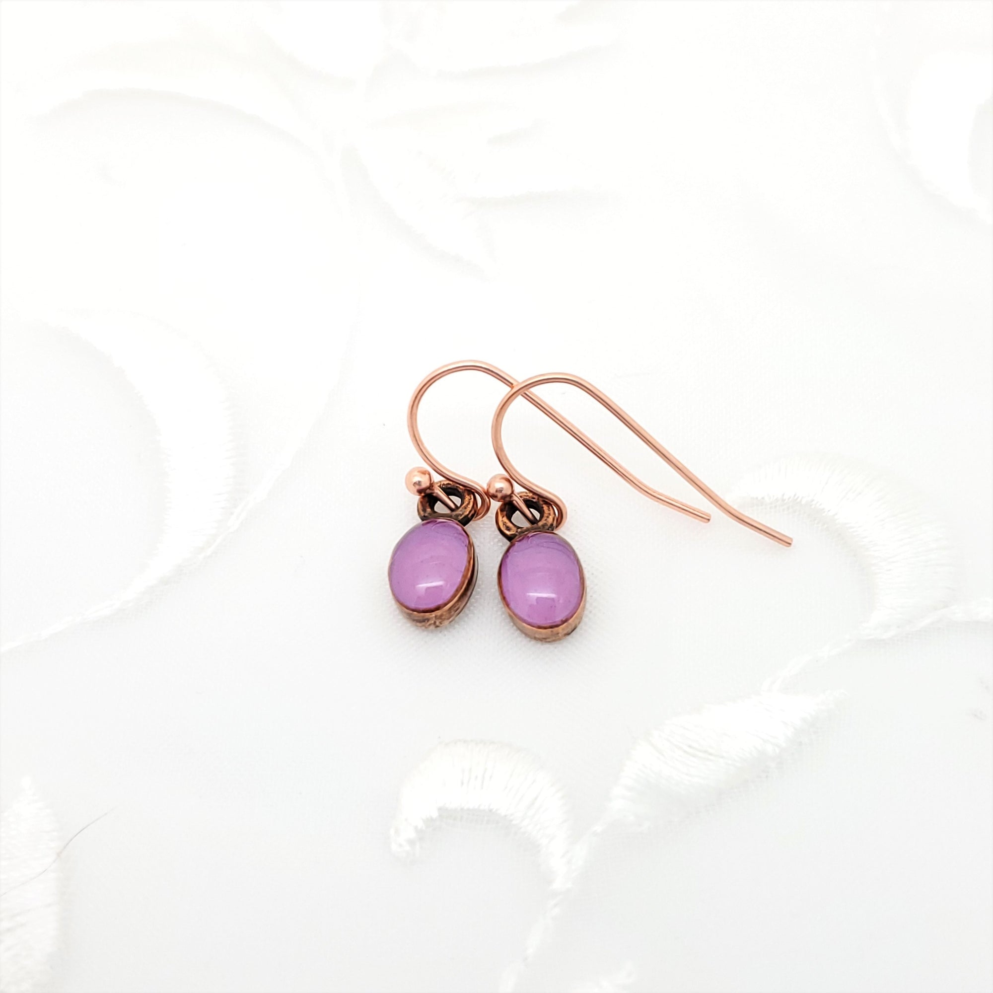 Antique Copper Tiny Oval Earrings with Purple Resin