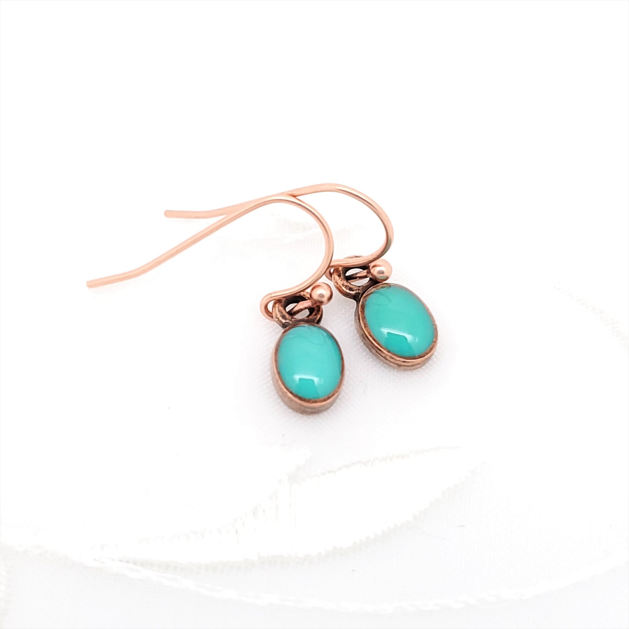 Antique Copper Tiny Oval Earrings with Turquoise Resin