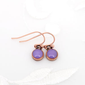 Antique Copper Tiny Round Earrings with Purple Resin