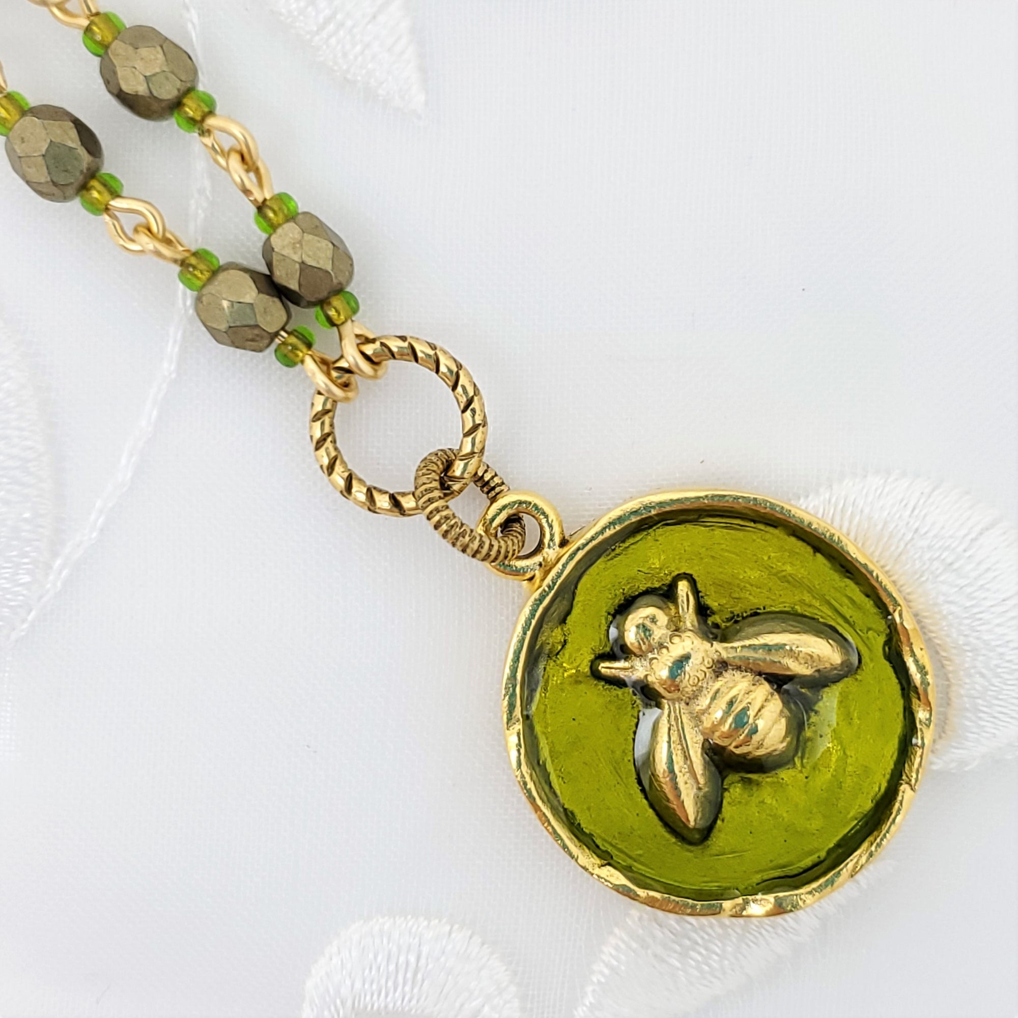 Antique Gold Bee Pendant Necklace with Olive Resin and Hand Linked Beaded Chain