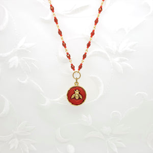 Antique Gold Bee Pendant Necklace with Red Resin and Hand Linked Beaded Chain