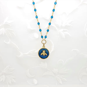 Antique Gold Bee Pendant Necklace with Sapphire Resin and Hand Linked Beaded Chain