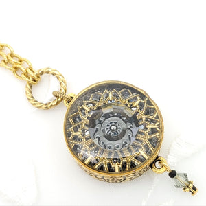 Antique Gold Charcoal Grey Ornate Kaleidoscope Pendant Necklace
