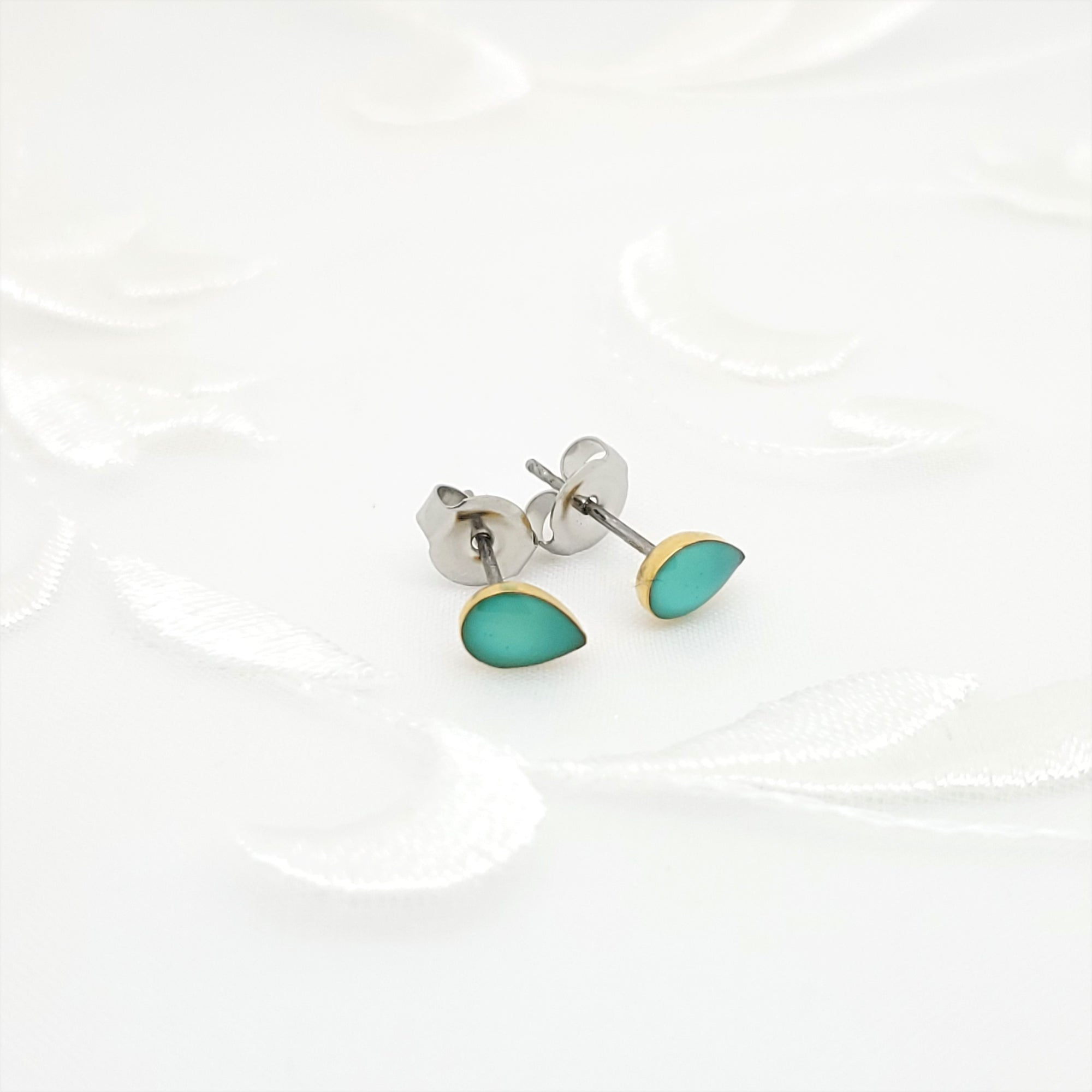 Antique Gold Drop Stud Earrings with Light Turquoise Resin