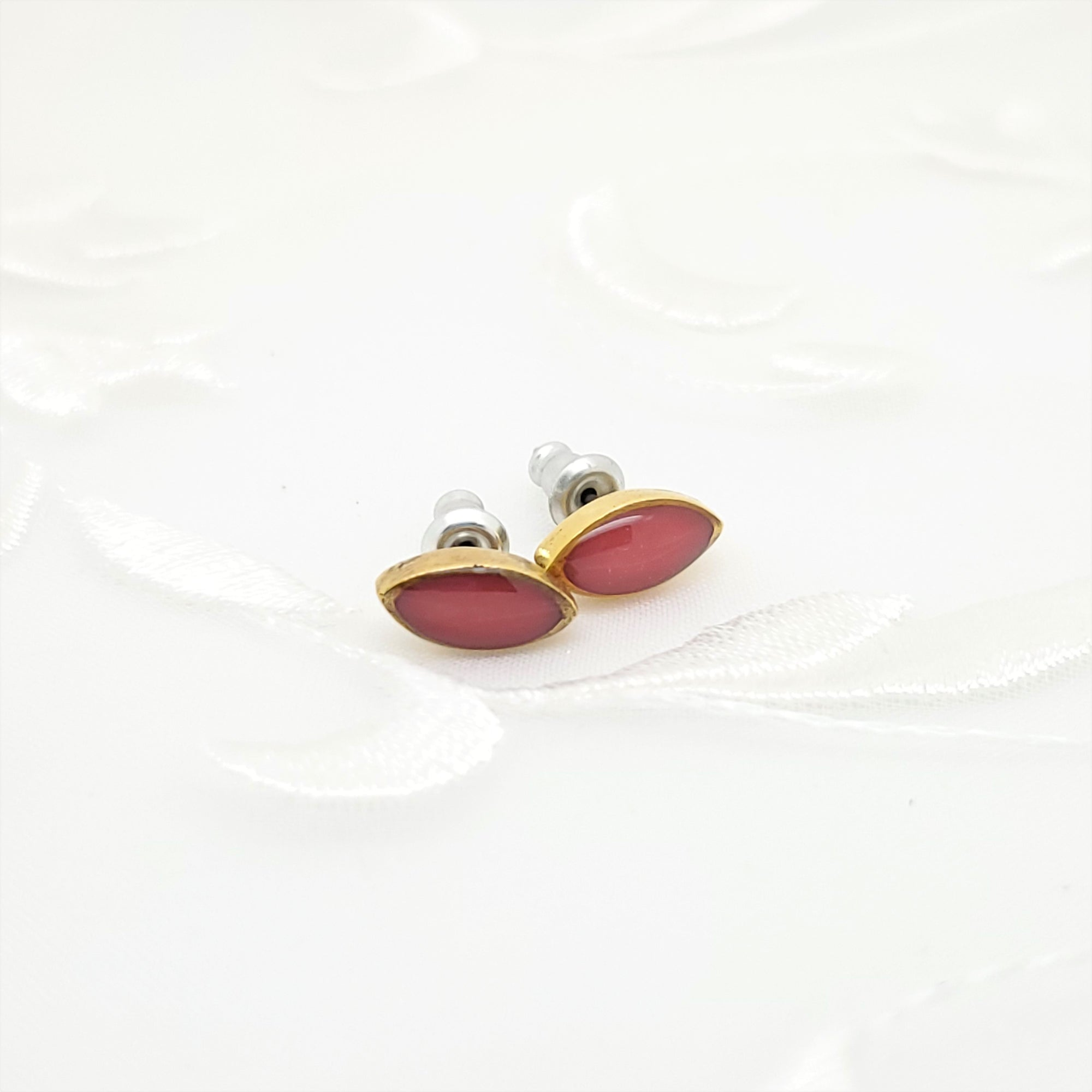 Antique Gold Navette Stud Earrings with Coral Red Resin