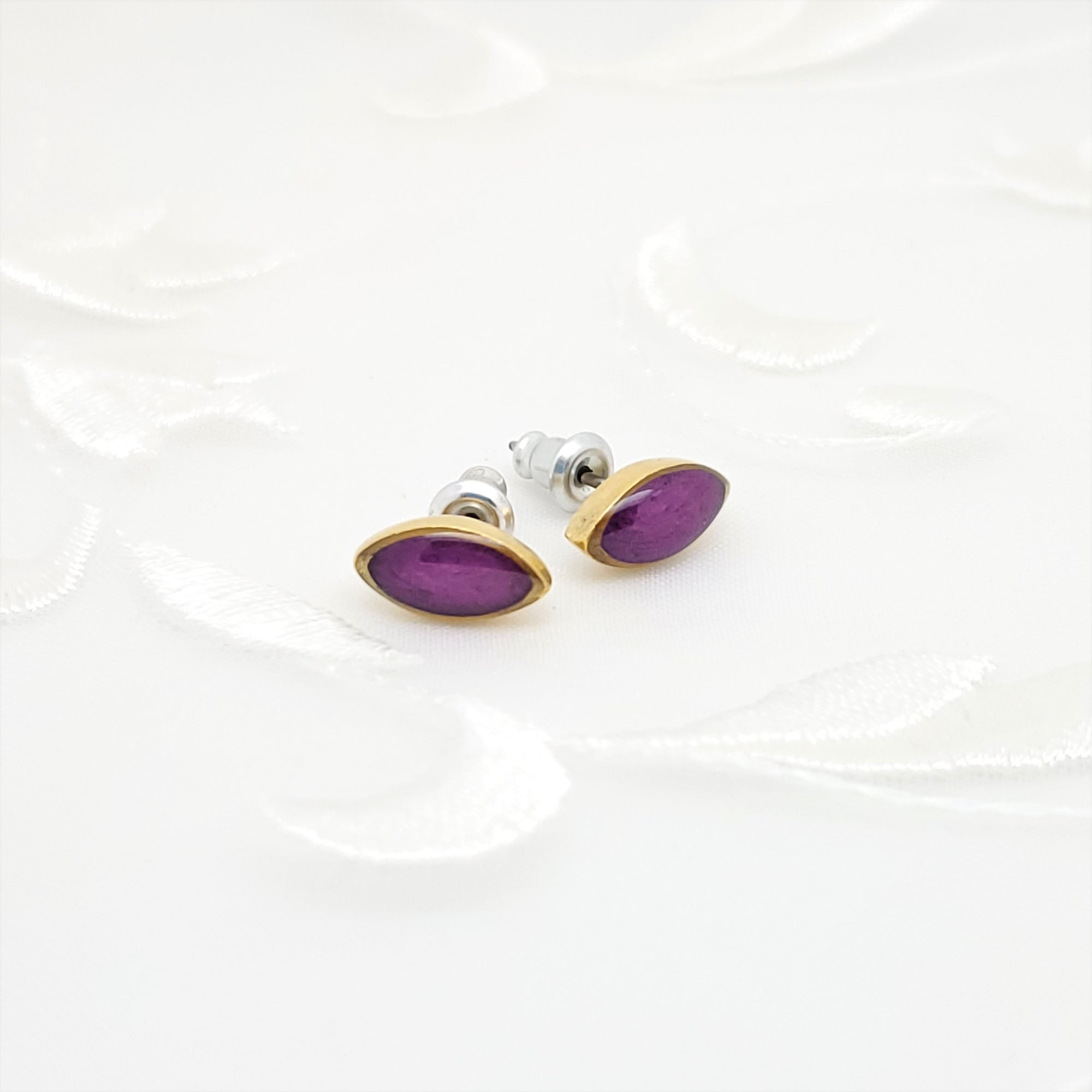 Antique Gold Navette Stud Earrings with Transparent Amethyst Resin