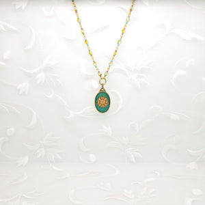 Antique Gold Ornate Oval Pendant Necklace with Colored Resin and Filigree