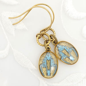 Antique Gold Oval Earrings with Light Blue Filigree