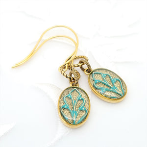 Antique Gold Oval Earrings with Patina Filigree