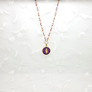 Antique Gold Owl Pendant Necklace with Dark Purple Resin and Hand Linked Beaded Chain