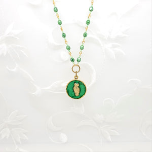 Antique Gold Owl Pendant Necklace with Green Resin and Hand Linked Beaded Chain