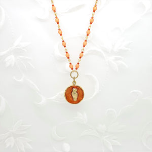 Antique Gold Owl Pendant Necklace with Orange Resin and Hand Linked Beaded Chain