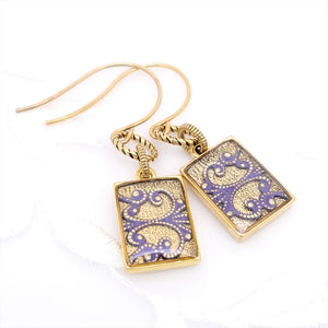 Antique Gold Rectangle Earrings with Purple Filigree