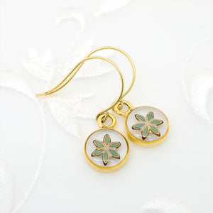 Antique Gold Round Earrings with Clear Resin and Green Flower