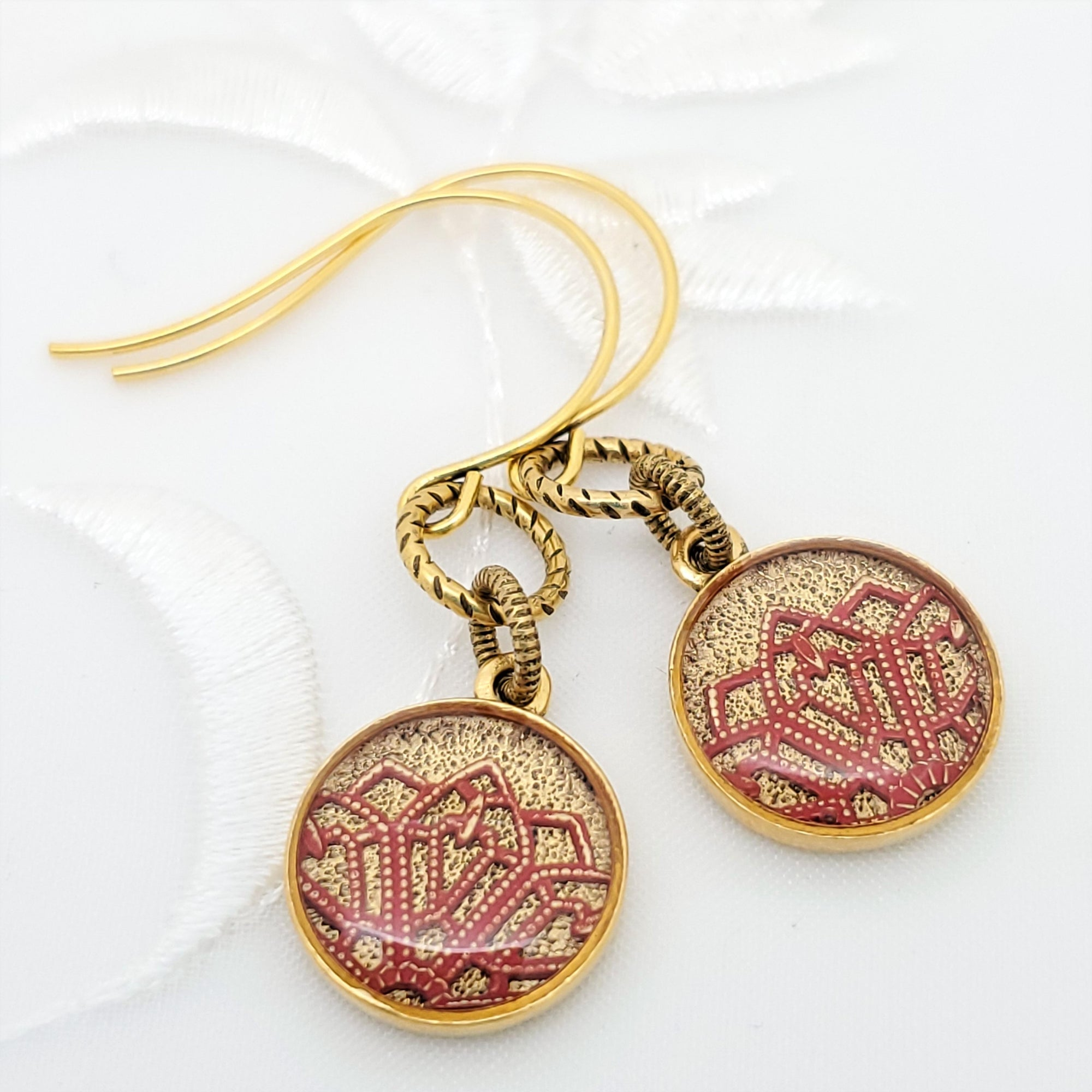 Antique Gold Round Earrings with Red Filigree