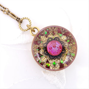 Antique Gold Royal Red Delite Kaleidoscope Pendant Necklace