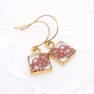 Antique Gold Square Earrings with Red Filigree