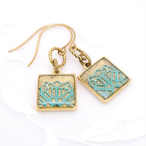 Antique Gold Square Earrings with Turquoise Filigree