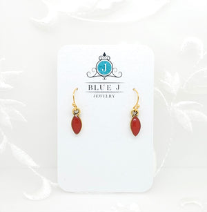 Antique Gold Tiny Drop Earrings with Red Resin