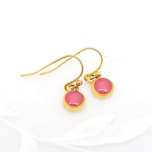 Antique Gold Tiny Round Earrings with Pink Resin