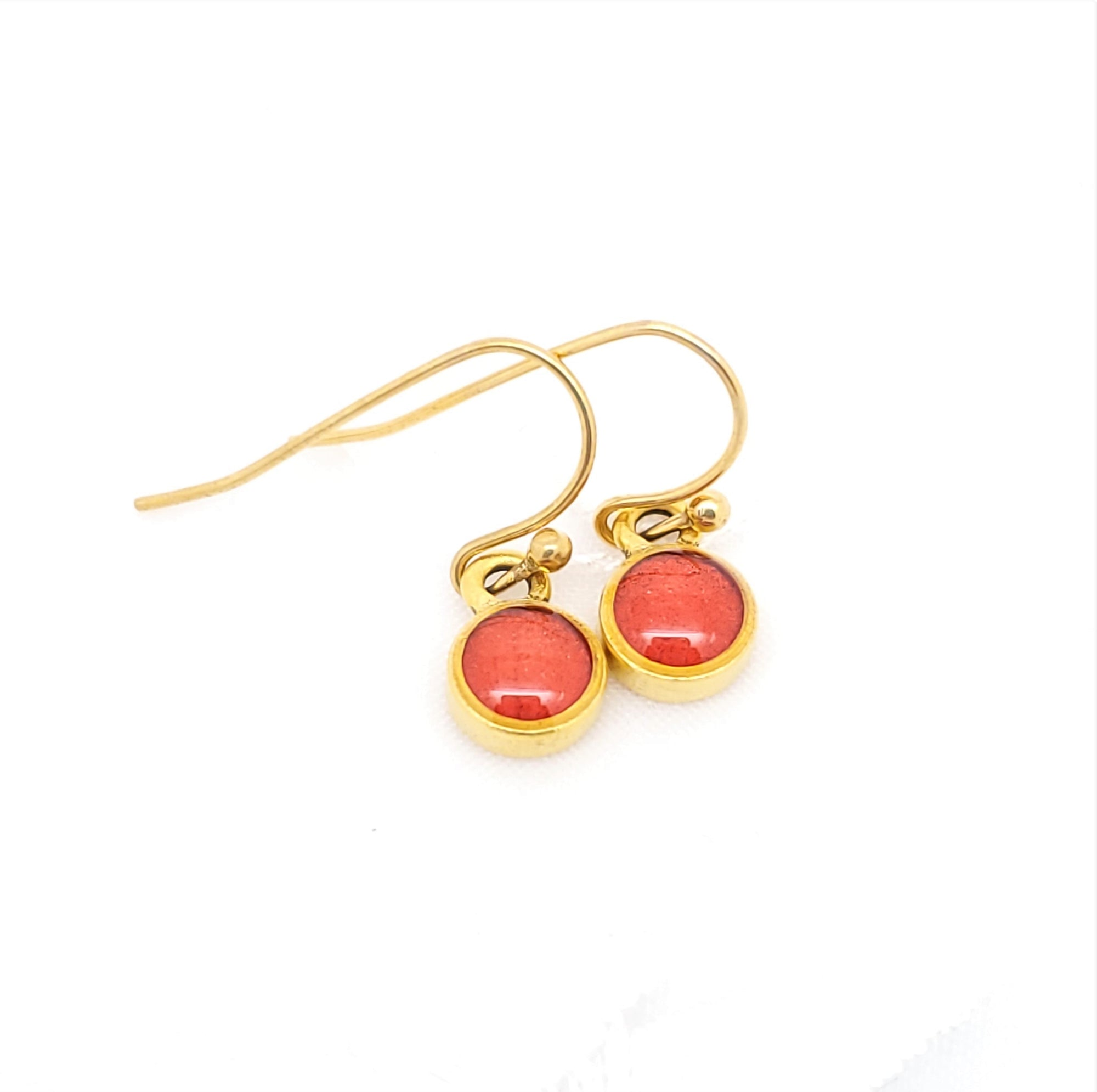 Antique Gold Tiny Round Earrings with Transparent Red-Orange Resin