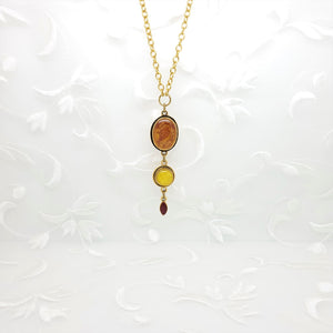 Antique Gold Triple Pendant Necklace with Pearlized Shades of Autumn Resin