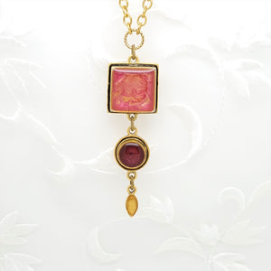 Antique Gold Triple Pendant Necklace with Pearlized Pink, Gold, and Burgundy Resin