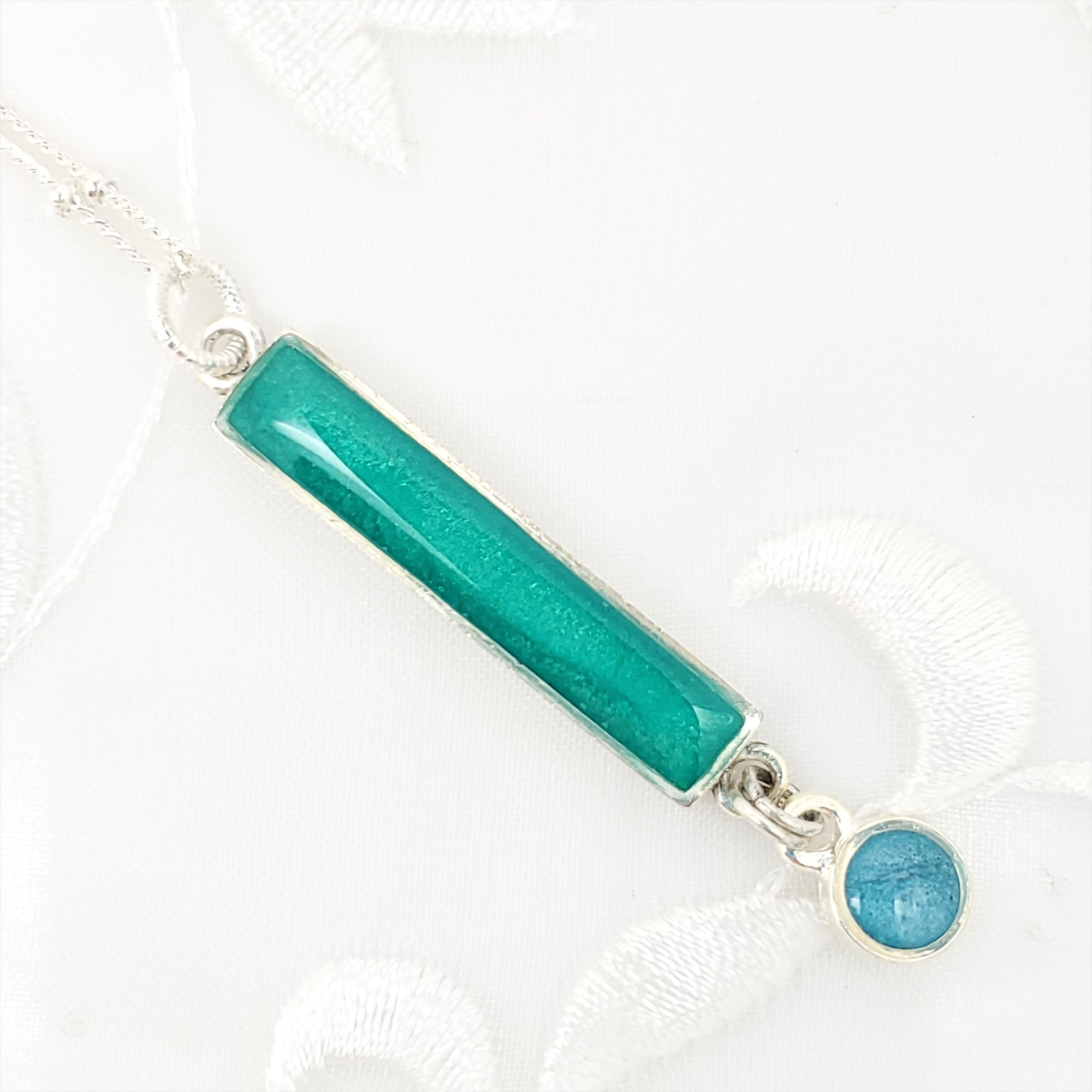 Antique Silver Bar Pendant Necklace with Pearlized Green and Blue Resin