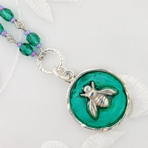 Antique Silver Bee Pendant Necklace with Green Resin and Hand Linked Beaded Chain