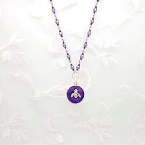 Antique Silver Bee Pendant Necklace with Purple Resin and Hand Linked Beaded Chain
