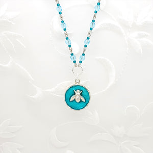 Antique Silver Bee Pendant Necklace with Sky Blue Resin and Hand Linked Beaded Chain