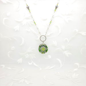 Antique Silver Lime Kaleidoscope Pendant Necklace