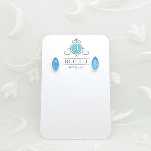Antique Silver Navette Stud Earrings with Transparent Blue Resin