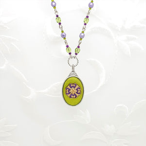 Antique Silver Ornate Oval Pendant Necklace with Colored Resin and Filigree
