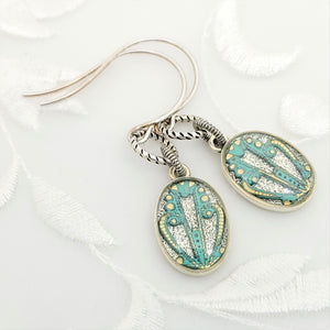 Antique Silver Oval Earrings with Turquoise Filigree