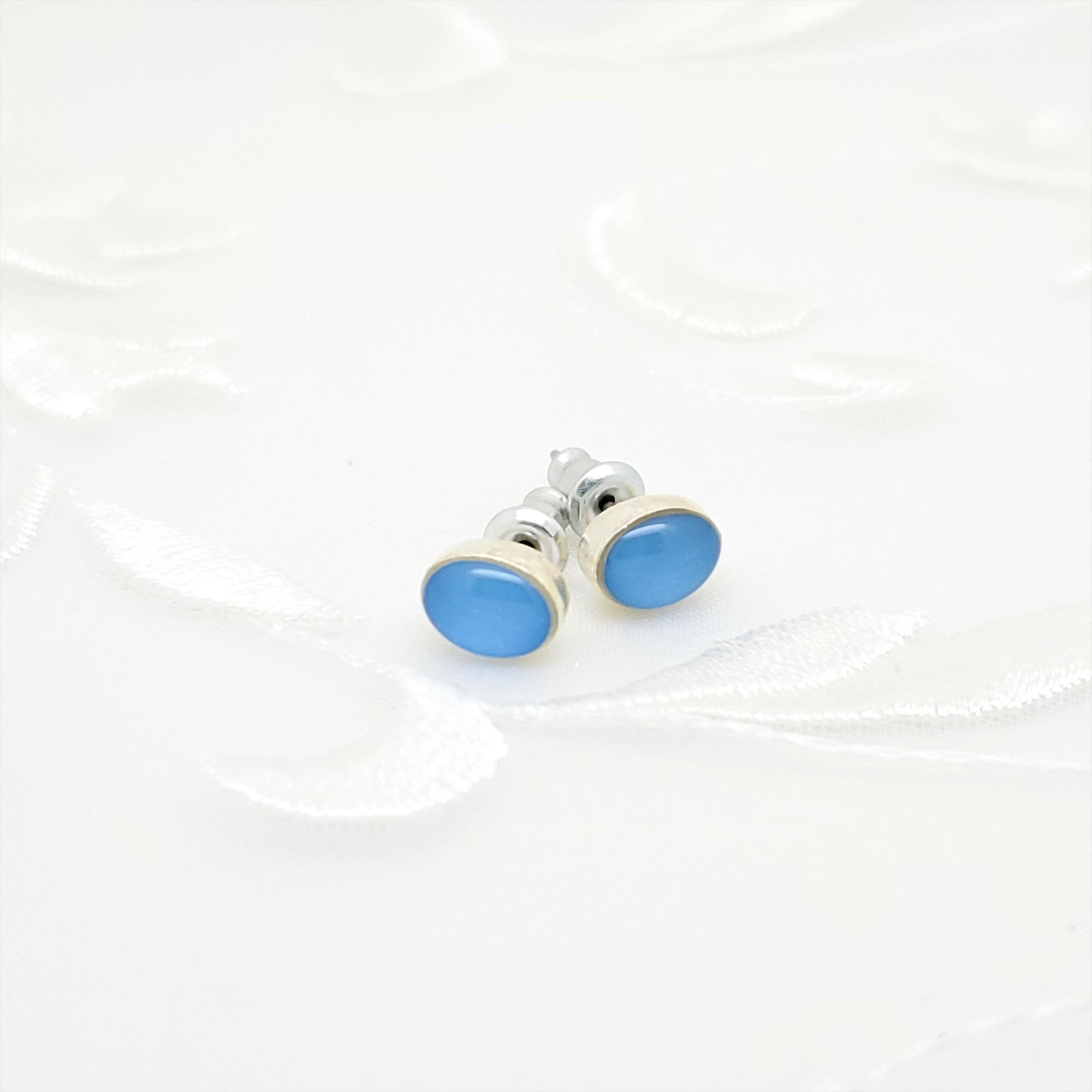 Antique Silver Oval Stud Earrings with Carolina Blue Resin