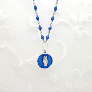 Antique Silver Owl Pendant Necklace with Dark Blue Resin and Hand Linked Beaded Chain