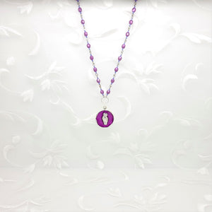 Antique Silver Owl Pendant Necklace with Purple Resin and Hand Linked Beaded Chain