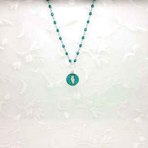 Antique Silver Owl Pendant Necklace with Turquoise Green Resin and Hand Linked Beaded Chain