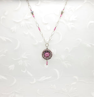 Antique Silver Pink Ornate Kaleidoscope Pendant Necklace