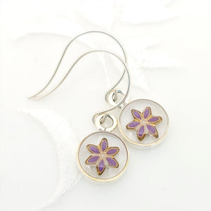 Antique Silver Round Earrings with Clear resin and Purple Flower