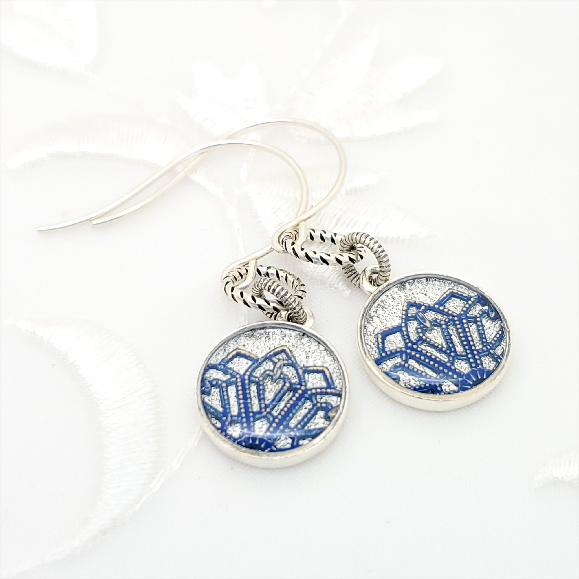 Antique Silver Round Earrings with Dark Blue Filigree