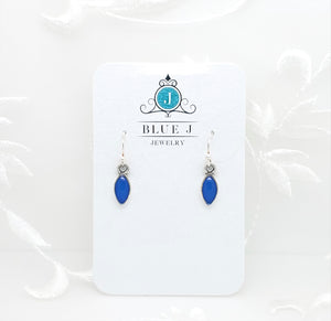 Antique Silver Tiny Drop Earrings with Dark Blue Resin