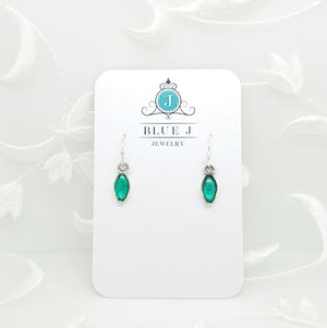 Antique Silver Tiny Drop Earrings with Transparent Green Resin